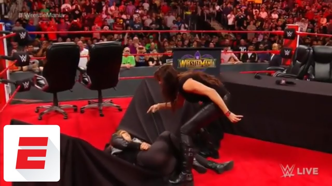 Stephanie McMahon puts Ronda Rousey through a table | WWE | ESPN