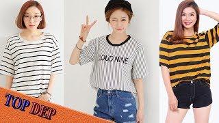 Thời trang áo thun, áo phông kẻ nữ trẻ trung năng động nhất