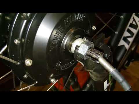 Установка мотор-колеса в 28 ободе в вилку под 26 колеса