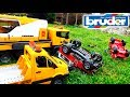 Tow trucks and Cars BRUDER for children Help after Racing Crash Video For kids Toys Cars