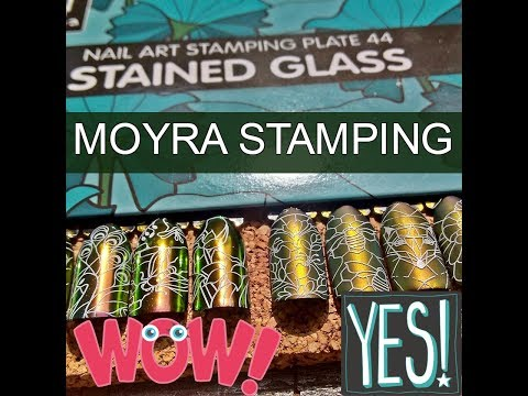 Moyra's Stained Glass Plate 44 Stamped W/Moyra Foil Stamping Polish