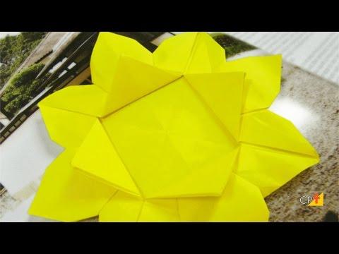 Como Fazer Girassóis de Origami - Curso de Origami