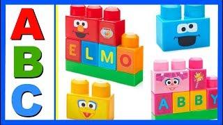 Learn ABC Alphabet With ABC MEGA BLOKS Sesame Street Elmo! Fun Educational ABC Alphabet Video For Ki