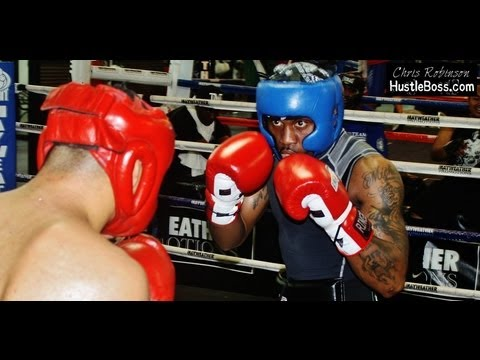 Sebastian Lujan (39-7-2, 24 KO's) sparring Lanell Bellows (3-0-1, 3 KO's) [Mayweather Boxing Club] Image 1