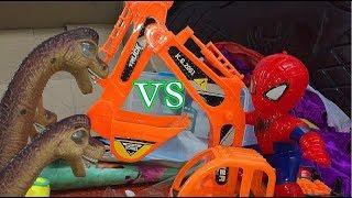 Trò chơi máy xúc ,khủng long bạo chúa so tài với người nhện đồ chơi