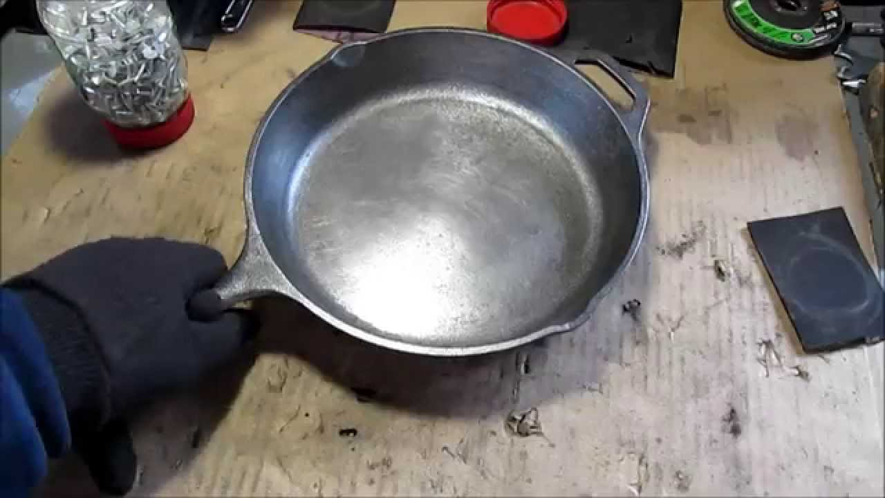 Sanding Smooth The Inside Of A Cast Iron Skillet Youtube