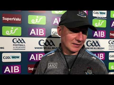 Jim Gavin reacts to Dublin's All-Ireland semi-final victory over Mayo