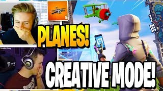 Streamers React to PLANES in *NEW* CREATIVE MODE! (Minecraft in Fortnite)