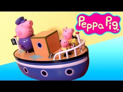 Peppa Pig Grandpa Pig's Bathtime Boat Muddy Puddles With Bath Crayons Nickelodeon Disneycollector