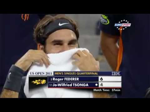 Federer Laughs Crazy Dance - US Open 2011
