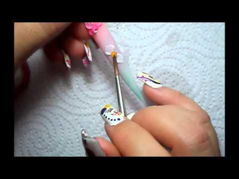 Tecnica rusa y Orquideas en 3D Uñas acrilicas * 3D nail art *