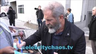 Mel Gibson greets fans outside jimmy kimmel live