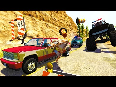 CRAZY CLIFF SIDE POLICE CHASES AND TAKEDOWNS! - BeamNG Drive Crash Test Compilation Gameplay