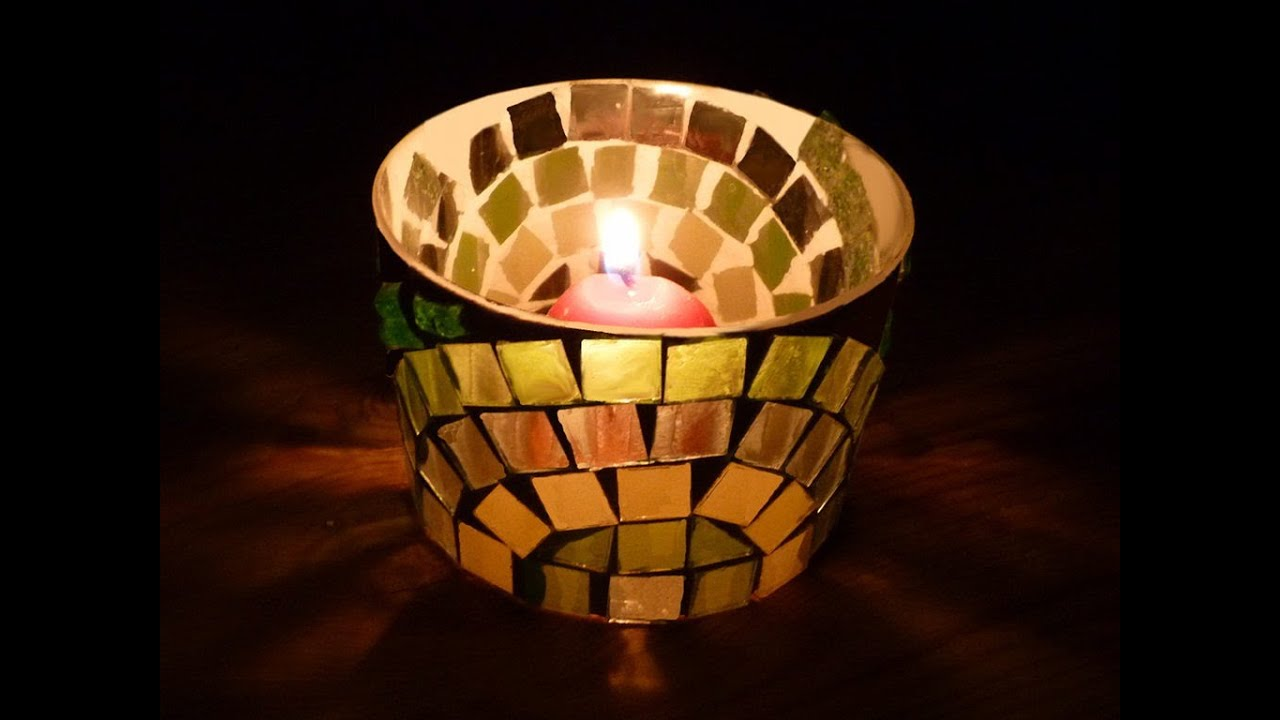 Portavelas de mosaico de vidrio youtube - Lamparas con botes de cristal ...