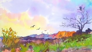 Southwestern Landscape EASY Watercolor Painting Tutorial