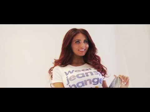 Behind the scenes with Amy Childs on the Jeans for Genes Day shoot