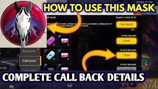How to complete free fire call back event || How to use horse mask in free fire