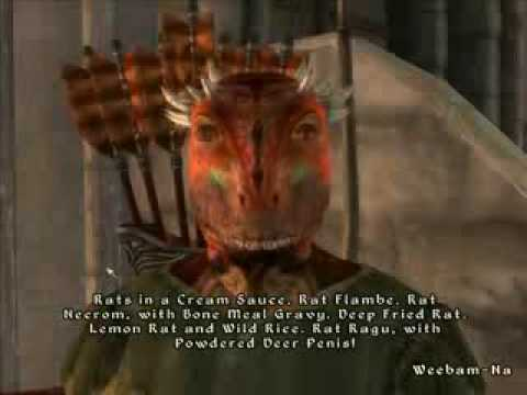 Rude argonian talking about rats