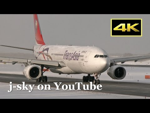 [4K] [新千歳空港] Snow and jetliner! TransAsia Airways Airbus A330-343 at New Chitose Airport [FDR-AX1]