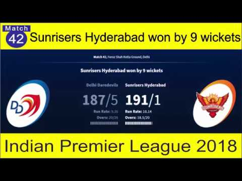 Delhi Daredevils vs Sunrisers Hyderabad | (DD vs SH) Match 42 | Sunrisers Hyderabad won by 9 wickets