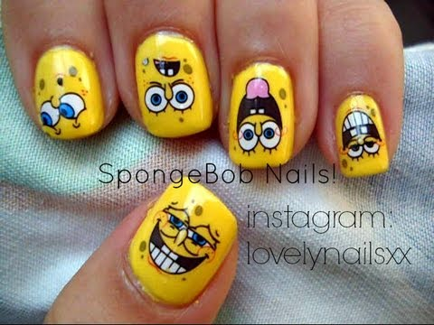 Spongebob Nails Using Water Decals!