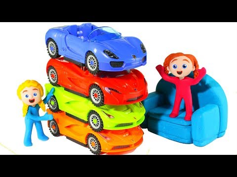 FUNNY KIDS & THE PILE OF CARS  ❤  Play Doh Cartoons For Kids