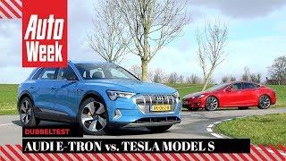 Audi E-Tron vs. Tesla Model S - AutoWeek Dubbeltest - English subtitles