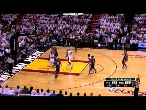 David West Down With Sprained Knee vs Shane Battier - Pacers @ Heat - 5/23/12