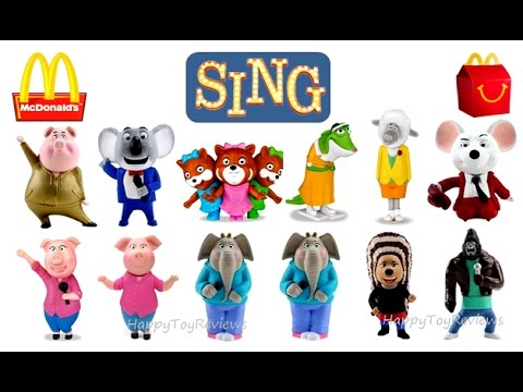 ALL 12 WORLD SET McDONALD'S SING MOVIE HAPPY MEAL TOYS KIDS COLLECTION UNBOXING 2016 2017 EUROPE USA
