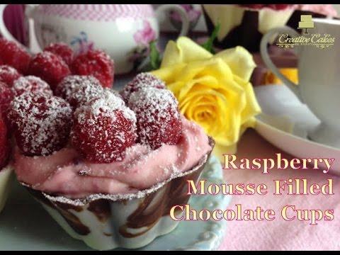 Mother's Day Raspberry Mousse filled Chocolate Cups  - Málna mousse csokoládé kehelyben anyák napjár