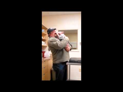 Mojo the Pittbul Puppy first reaction to the man that saved his life.