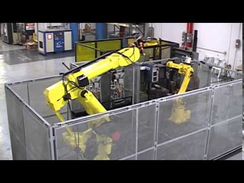Multiple Robotic Cells with Dual Welding Robots and Material Handling Robot