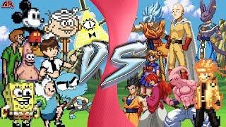 CARTOON vs ANIME TOTAL WAR (Bill Cipher, Gumball, Spongebob, Ben 10 vs Goku, Saitama, Naruto & More)