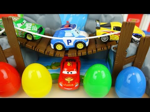 Cars and Poli car toys road set surprise eggs play