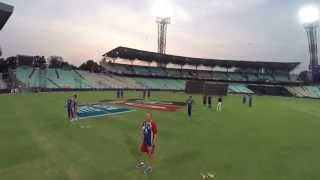 Aerial View of Team RCB practicing at the Eden Gardens