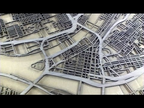 Laser Cut Pittsburgh Map on Walnut by Cut Maps