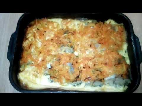 Рыба с овощами под яичным соусом