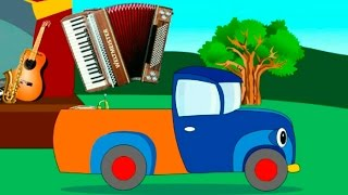 Truck and musical instruments. Cartoons for Kids
