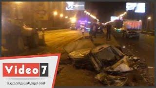 بالفيديو ..فتح الطريق الدائرى بالمعادى عقب إصابة 15 فى حادث تصادم بطريق أوتوستراد المعادى