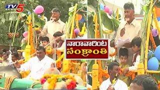 ఎడ్ల బండిపై మనవడితో షికారు | CM Chandrababu with Nara Devansh