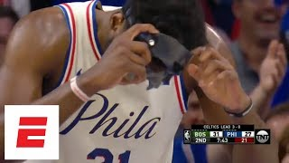 Marcus Smart knocks off Joel Embiid's mask during Game 4 of 76ers-Celtics | ESPN