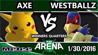PAX South Arena - Tempo | Axe (Pikachu) Vs. Tempo | Westballz (Falco) SSBM WQ - Smash Melee
