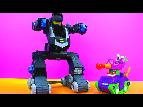 Imaginext Batman uses Batbot to get the Joker and Teenage Mutant Ninja Turtles Shredder  TMNT