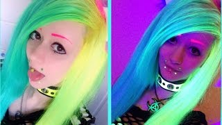 ★ Dying My Hair Neon Turquoise & Neon Yellow (UV Reactive) ★