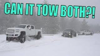 MY SEMA TRUCK RESCUING TRUCKS IN THE SNOW!