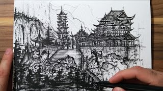 Speed Drawing (Ink) - China Landscape