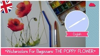 Watercolors for Beginners: How to paint POPPY FLOWERS using a straw