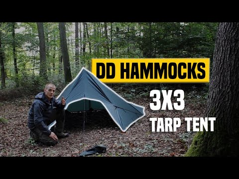 DD Hammocks Tarp 3x3 Speed Review Tent Setup GERMAN + (ENGLISH SUBTITLES)