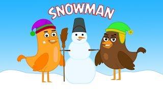 Friends making a Snowman - cartoon about Birds