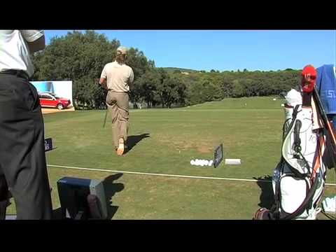 Miguel Angel Jimenez working with TrackMan
